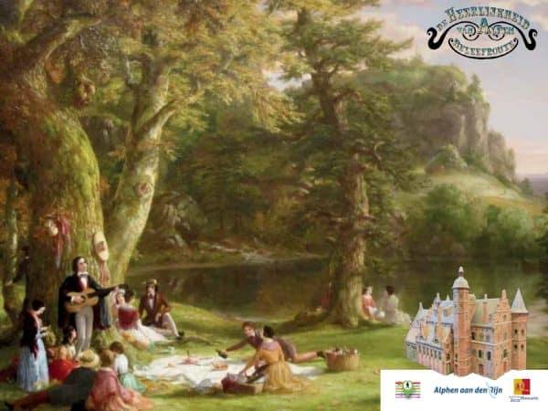 Impressie van een middeleeuwse picknick voor de beleefroute van de Heerlijkheid van Alfen